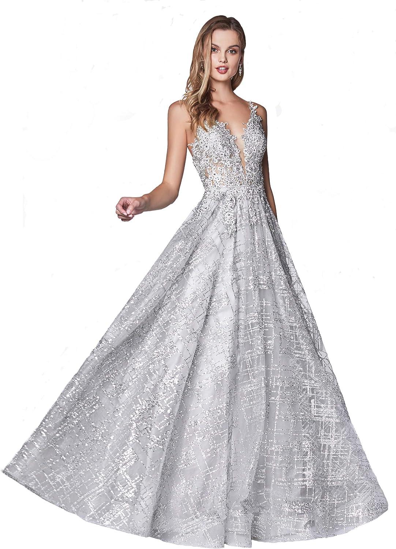 Meier Women's Plunging V Neck Lace Bodice Glitter Prom Formal Dress