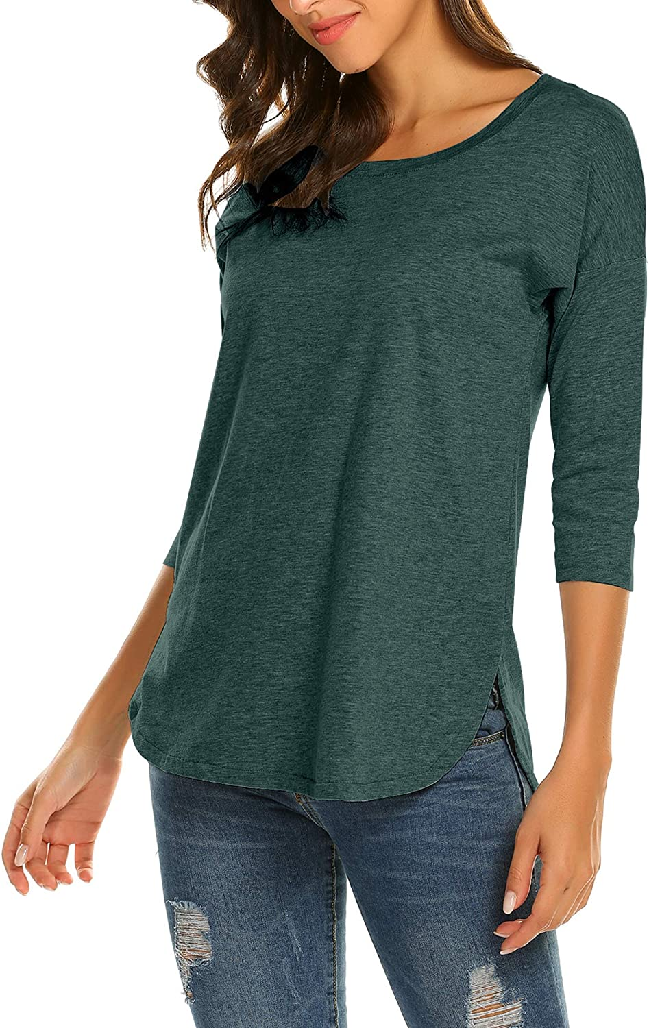 She Women's Casual 3/4 Sleeve Loose Tunic Tops Scoop Neck T-Shirt