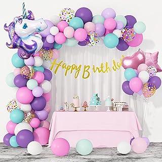 108Pcs Unicorn Balloons Garland Arch Kit, 40'' Large Unicorn Purple Pink Aqua Blue Confetti Balloons Happy Birthday Banner...