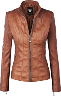 Women's Hooded Faux Leather Moto Biker Jacket (XS~2XL)