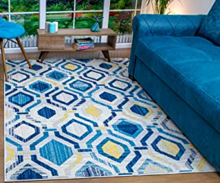 Antep Rugs Elite Collection Geometric Contemporary Distressed Indoor Area Rug (Blue, 5' x 8')