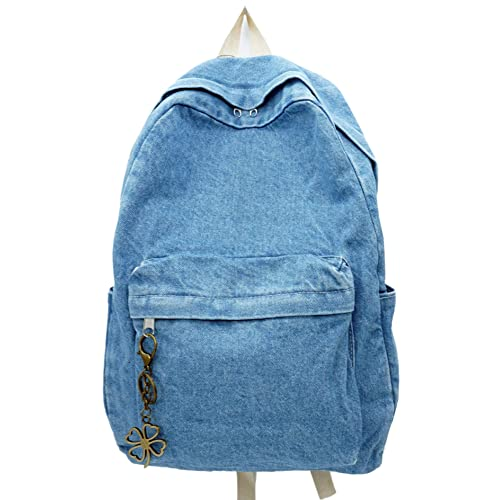 Yunzh Classic Retro Denim Bookbags School Bag College Jeans Backpack Casual  Backpacks (Lightblue) a8f25a401f025