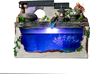 crapelles Tabletop Fountain Water Illuminated Small Fish Tank Aquarium Pond Asian Garden Style with Fog Maker LED Resin Decorative Waterfall