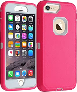 Co-Goldguard iPhone 6/6s Case,[Heavy Duty] [Litchi Pattern Series] Armor 3 in 1 Rugged Cover with Front Frame Shockproof Drop-Proof Tough Shell Case for Apple iPhone 6/6s 4.7 inch (Pink&White)