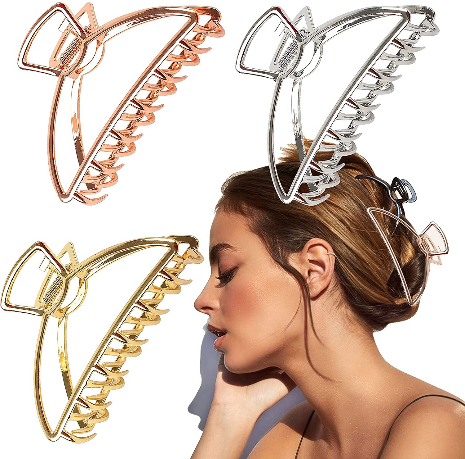 VinBee Our shop most popular 3 PACK Dealing full price reduction Large Metal Hair Claw Clips Catch Ja Barrette
