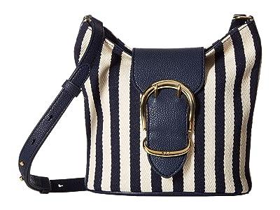 LAUREN Ralph Lauren Cornwall Striped Canvas Bucket Crossbody Bag (Navy/Ivory Stripe) Handbags