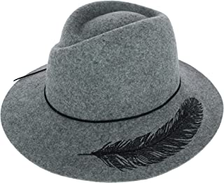 Sun N Sand Women's Wool Felt Safari Hat with Feather Embroidery