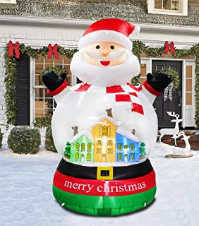 inslife 8 Ft Christmas Inflatable Snow Globe Decorations Snow Ball Crystal Santa Claus Decoration for Home Yard Lawn Indoor Outdoor