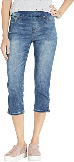 Knit Denim Pull-On Capris w/ Braid Detail in Medium Wash