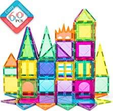 cossy 60 Pcs Magnet Tiles Magnetic 3D Building Blocks Set Educational Construction Toys for 3+ Year Kids with Stronger, Rivets-Fastened, Conventional, Multi-Color, Large