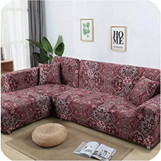 2 Pieces Cover for L Shaped Sofa Sectional Couch Slipcover Elastic Stretch Chaise Lounge Covers Corner Sofa Cover,7,195-230cm 235-300cm