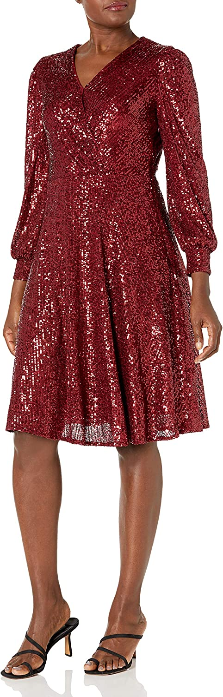 Tahari ASL Women's Long Sleeve Surplus Sequin Dress Wrap Ranking Max 44% OFF TOP5