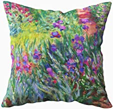Musesh the iris garden in giverny claude monet fine art Cushions Case Throw Pillow Cover For Sofa Home Decorative Pillowslip Gift Ideas Household Pillowcase Zippered Pillow Covers 20X20Inch