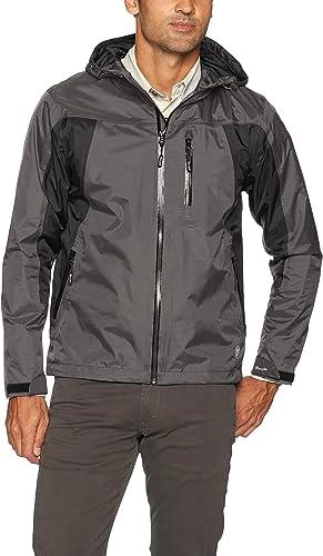 Wrangler Hommes's imperméable Zip Front Rain veste, noir gris, XL