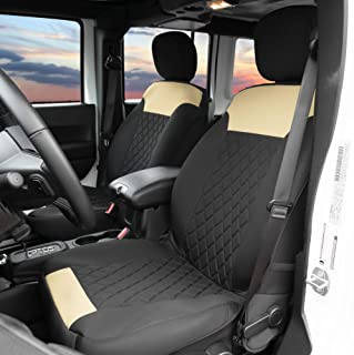 Airbag Compatible Set of 2 FH Group PU007BLACK102 Black Deluxe Leatherette Bucket Seat Cover