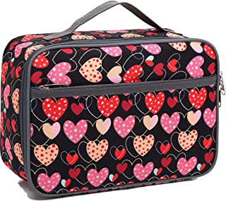 Kids Lunch box Insulated Soft Bag Mini Cooler Back to School Thermal Meal Tote Kit for Girls, Boys,Women,Men by FlowFly (heart-shaped)