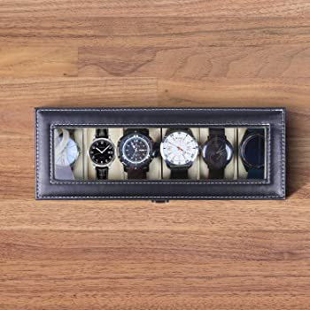 Watch Organizer, Ohuhu 6 Slot Watch Box PU Leather Watch Storage Case, Perfect Mother Father's Day Gifts Birthday Pre...
