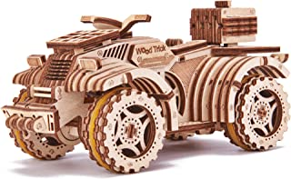 Wood Trick ATV Quad Bike Toy Mechanical Wooden Model Kit for Adults and Kids to Build - 7x4″ - 3D Wooden Puzzle - STEM Toys for Boys and Girls
