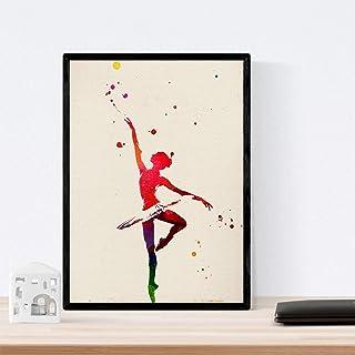 Nacnic Feuilles d'encadrement. Danseur de Ballet de Style Aquarelle. Affiche avec des Images de Danse imprimées dans Un St...