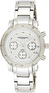 Akribos XXIV Women's Swiss Quartz Chronograph Diamond Crystal Bling Silver Stainless Steel Bracelet Watch - AK440