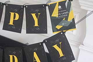 Happy Birthday Johnnie Walker Black Label Whisky Vintage Over the Hill 30th 40th 50th 60th ChalkboardTheme Banner - Matching Items Available - Signs, Favor Tags, Cupcake Toppers etc.