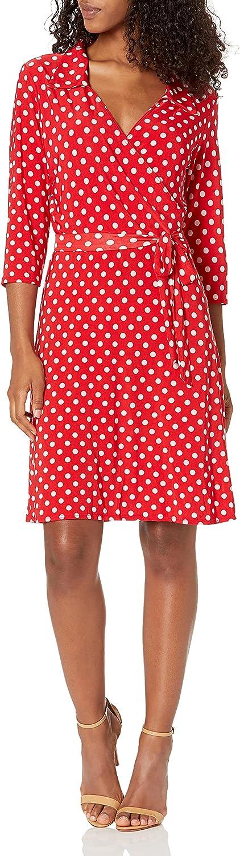 Star Vixen Women's Polka Dot Faux-Wrap Dress with Collar