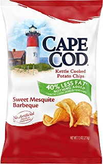 Cape Cod Potato Chips, Reduced Fat Sweet Mesquite Barbeque Kettle Cooked Chips, 7.5 Ounce Bag