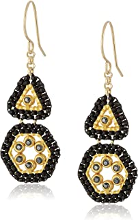 Miguel Ases Triangle and Hexagon Swarovski Mini Duo Drop Earrings