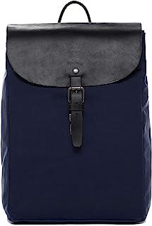 Feynsinn Rucksack Canvas & Leder Hanne klein Backpack Tagesrucksack Stadtrucksack Daypack Lederrucksack Unisex blau