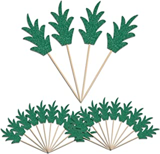 Green Pineapple Cupcake Toppers, LUTER 24 Pcs Donut Toppers Glitter Pineapple Picks for Luau Bridal Shower Tropical Summer...
