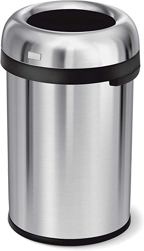 Simplehuman 115 Liter 30 Gallon Bullet Open Top Trash Can Commercial Grade Heavy Gauge Brushed Stainless Steel