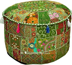 Bohemian Vintage Geborduurde Pouf Ottomaanse Voetbank Cover Indiase Ronde Ottomaanse Kruk Pouf Kussen, Etnisch Geborduurde...