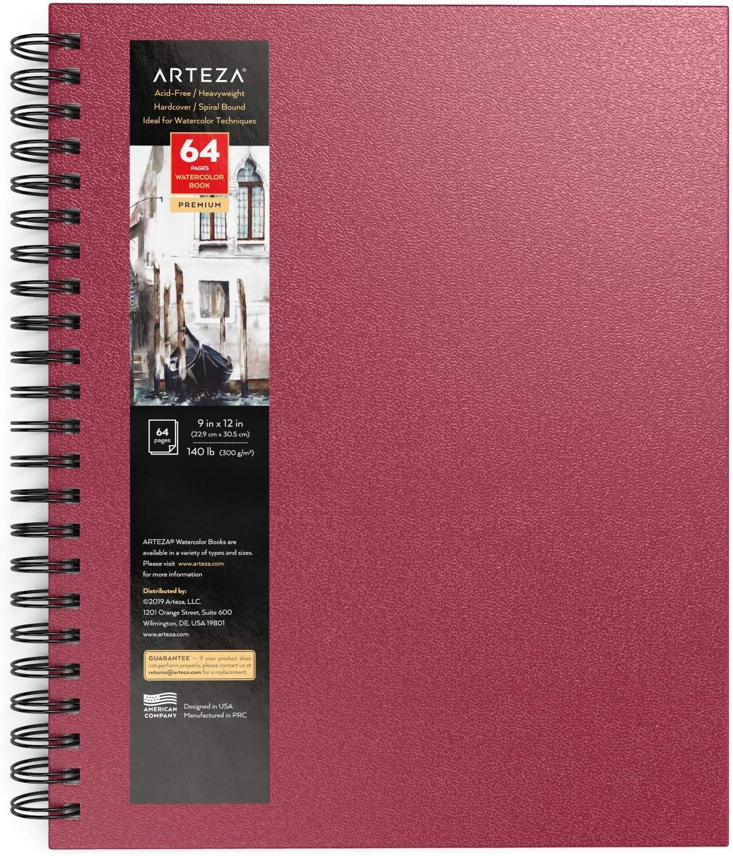 "bloc espiral tambi/én para gouache papel acuarela 300 gsm l/ápiz Arteza Cuaderno de acuarela 9x12/"" medios h/úmedos y secos diario de tapa dura color rosa 64 p/áginas acr/ílico 22,9x30,5 cm"