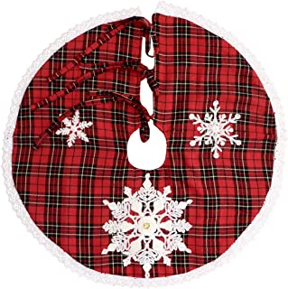 Grelucgo Mini Christmas Tree Skirt for Small Tabletop Tree, Embroidered Snowflake, Round 21 Inch, Double Thickness, Red and Black Buffalo Plaid