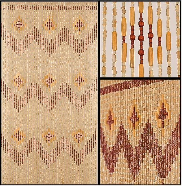 BeadedString Natural Wood And Bamboo Beaded Curtain 45 Strands 77 High Bamboo And Wooden Doorway Beads Boho Bohemian Curtain 35 5 W X 77 H Garden