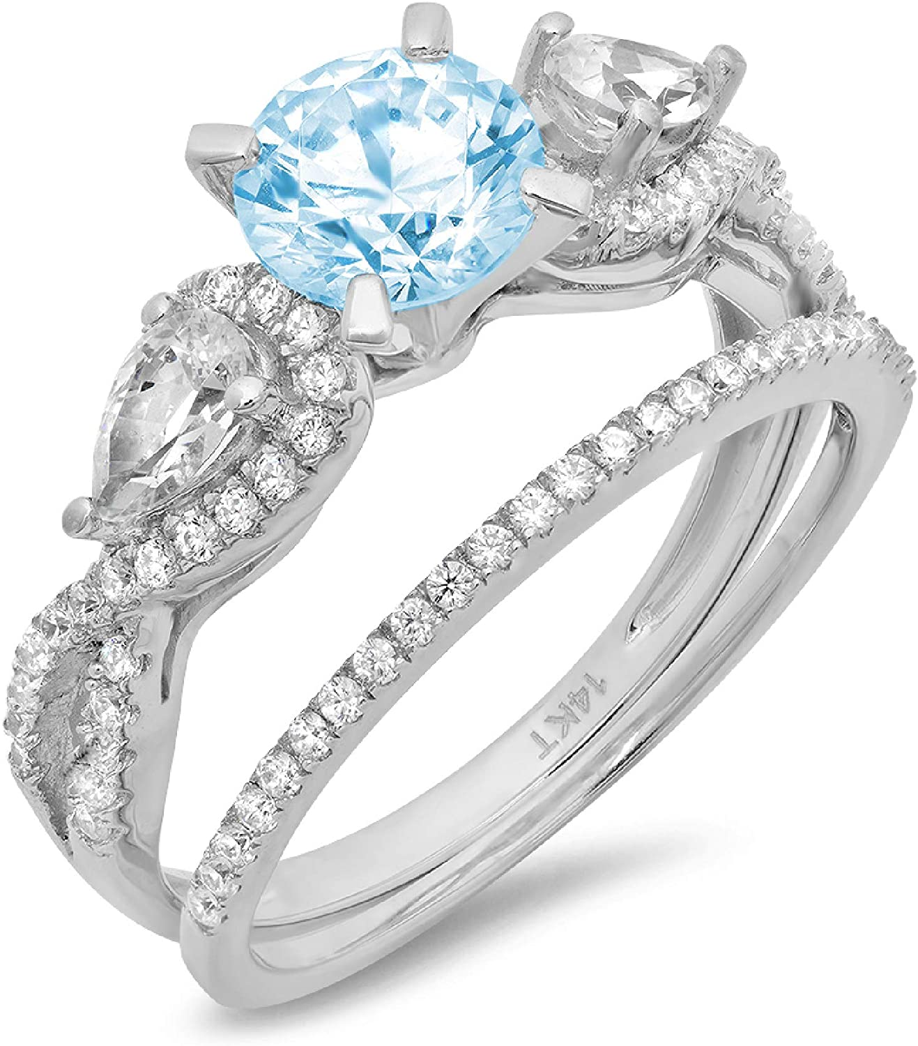 1.94ct Round Pear Cut Solitaire 3 stone With Accent VVS1 Ideal Aquamarine Blue Simulated Diamond CZ Engagement Promise Designer Anniversary Wedding Bridal ring band set 14k White Gold