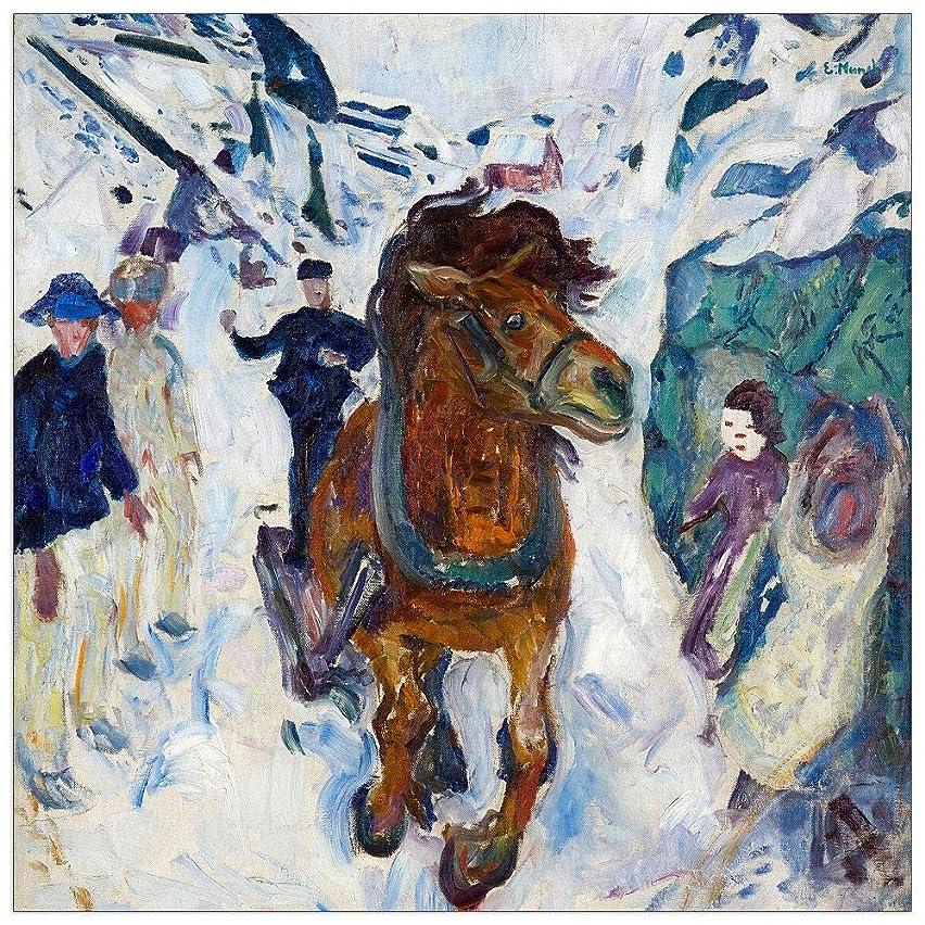 ArtPlaza TW92278 Munch Edvard - Galloping Horse Decorative Panel 15.5x15.5 Inch Multicolored