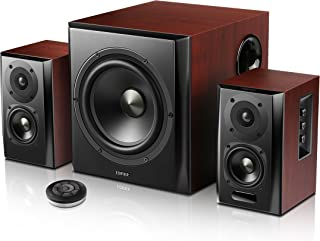 Bluetooth Bookshelf Speakers with Subwoofer,Remote Control,BT,Brown (S350DB)