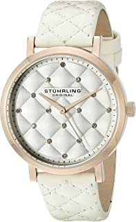 Stuhrling Original Women's Audrey Quartz Quilted Swarovski Crystal Dial Watch with Quilted Leather Band 462 Series