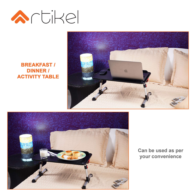 Artikel® XL Uni-Pro Laptop Desk | Study Table | Bed Table| Height & Tilt Adjustable | Left & Right Hand Mouse Compatible | Foldable and Portable | Non-Slip Legs | Carbon Black