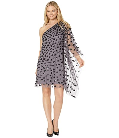 Adrianna Papell Beaded One Shoulder Kaftan Dress (Moonscape) Women
