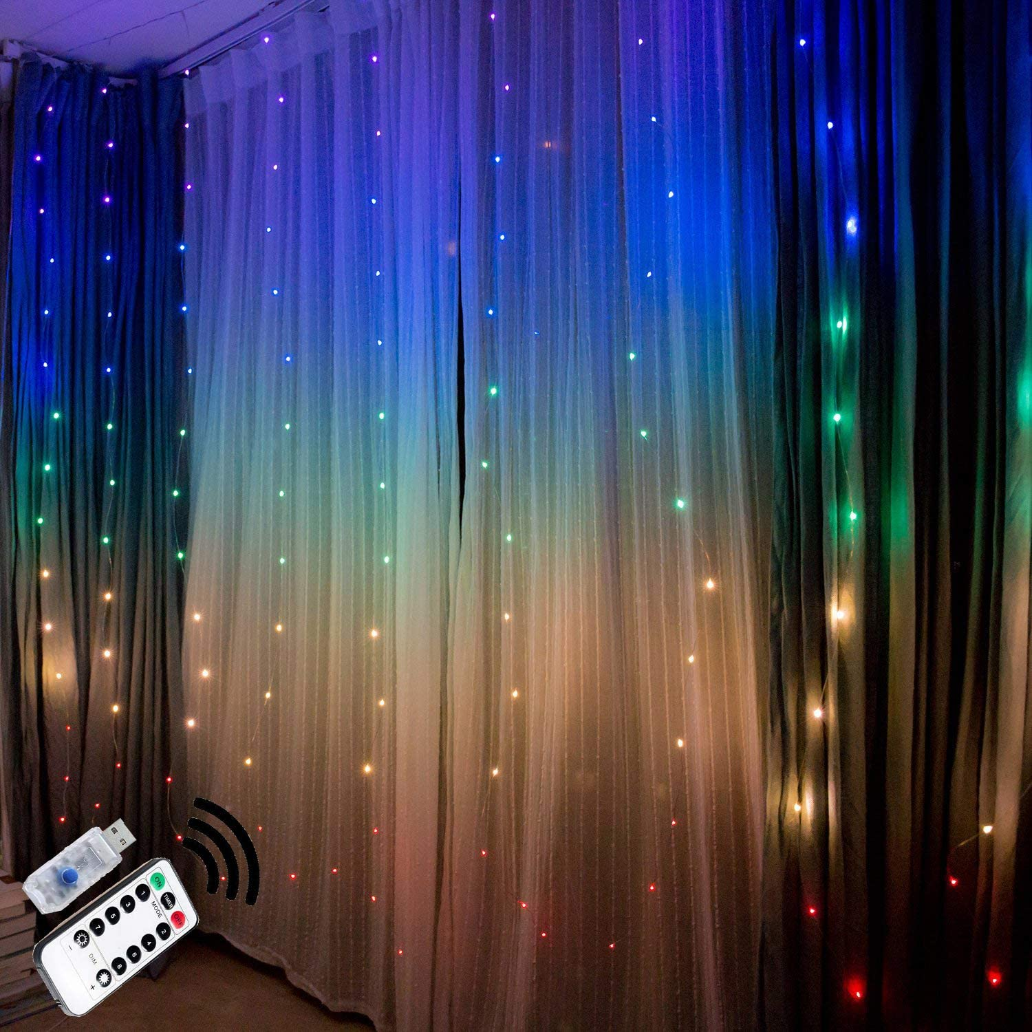 fairy lights led string lights twinkle color changing lighted curtains colored indoor window light up decorations for bedroom room wall decor wedding