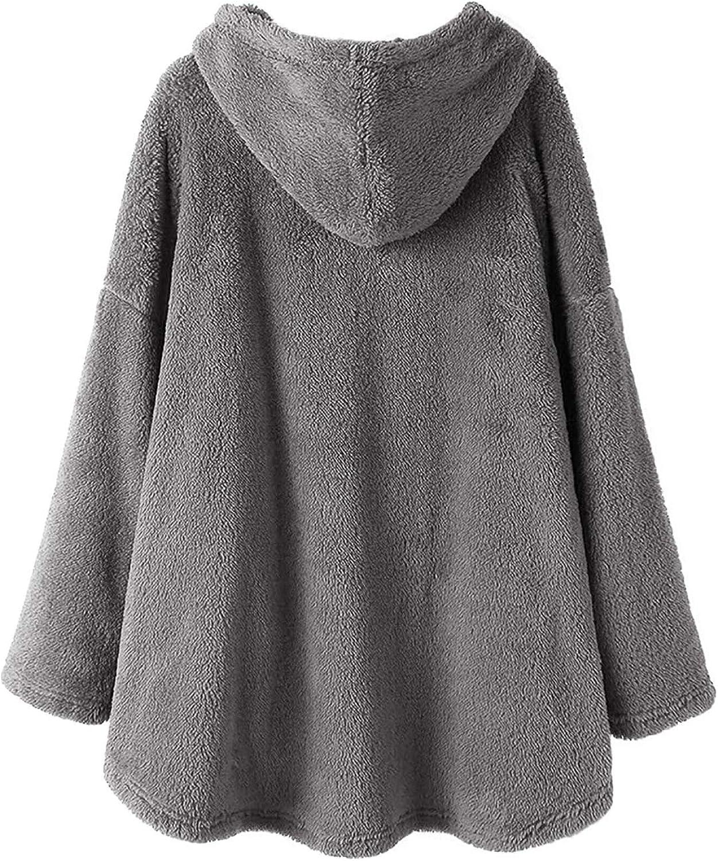 Briskorry Damen Plüschjacke Hoodie Fleece Pullover, Lose Sweatshirt Einfarbig Mantel mit Katze Motive Bauch Warme Hände Tasche Gray