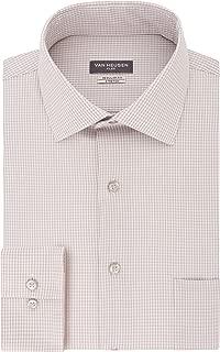 Men's Dress Shirt Regular Fit Flex Collar Stretch Check