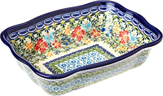 Polish Pottery Ceramika Boleslawiec Fala Baker Small, 7-3/4-Inch by 6-1/8-Inch, 3 Cups, Royal Blue Patterns with Red Cornf...