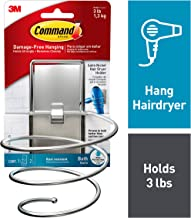 Command, Satin Nickel, 1-Hair Dryer Holder, 2-Large Water-Resistant Strips - BATH39-SN-ES