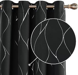 Deconovo Cortinas Opacas Diseño de Rayas Plateadas para habitación con Ojales 2 Piezas 140x290cm Negro