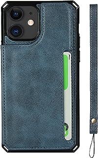 Dfly Capa para iPhone 12 mini, com Botão Magnético Duplo Talabarte de Slot de Cartão de Suporte Capa Traseira à Prova de C...