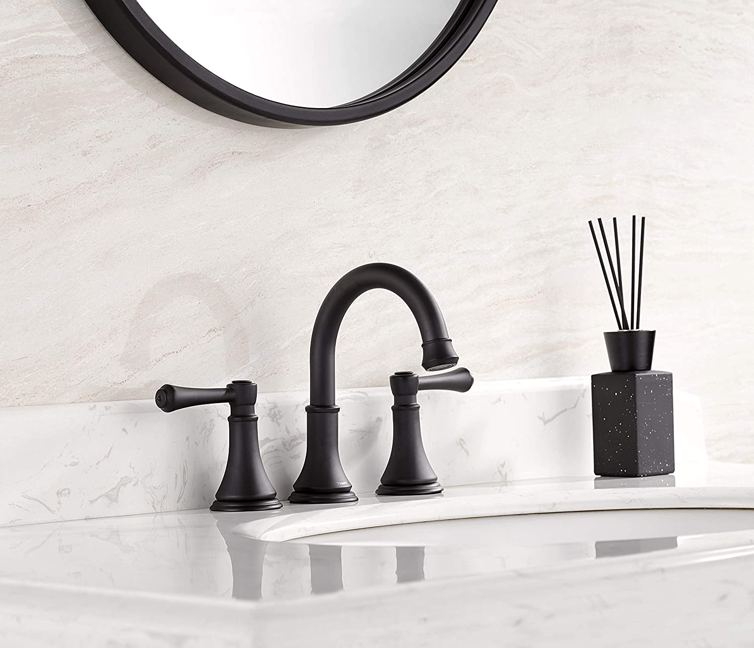 TimeArrow TAF830Y-BN Two Handle 8 inch Widespread Bathroom Sink Faucet with Pop-Up Drain Brushed Nickel