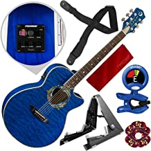 Luna Fauna Dolphin Acoustic Electric Guitar with Guitar Stand and Bundle